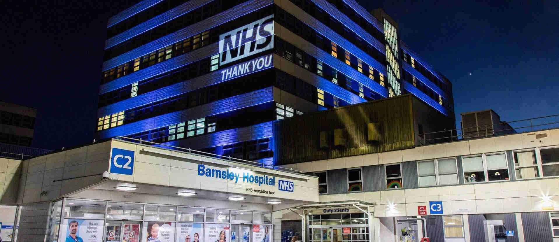 Barnsley hospital at night